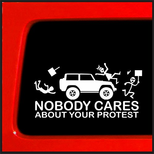 Stick Figure Family Nobody Cares about your protest funny sticker for Jeep funny truck white decal bumper sticker protester protesting (Funny Bumper Stickers For Trucks)
