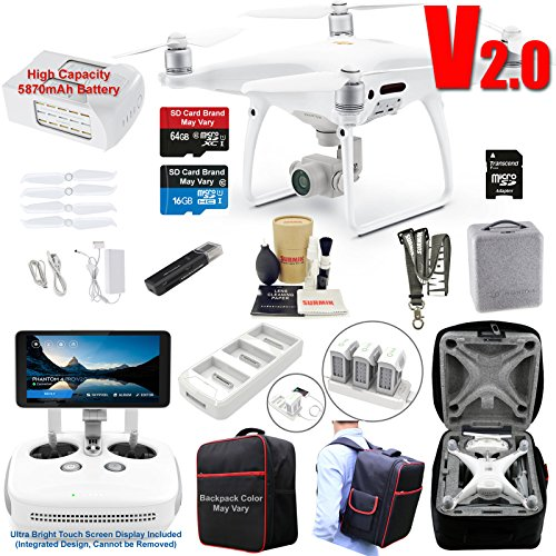 DJI Phantom 4 PRO PLUS V2.0 (PRO+ V2) Drone Quadcopter (Remote W/Integrated Touch Screen Display) Bundle Kit with 4K Professional Camera Gimbal and MUST HAVE Accessories