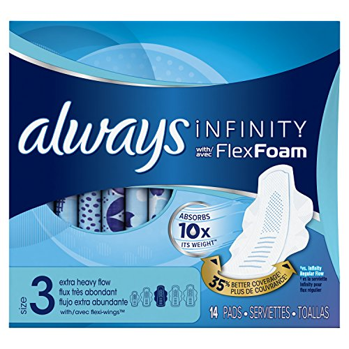 Always Infinity Size 3 Feminine Pads with Wings, Extra Heavy Flow Absorbency, Unscented, 14 Count (Always Infinity Overnight 14)
