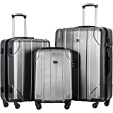 Merax 3 Piece P.E.T Luggage Set Eco-friendly Light Weight Travel Suitcase (Gray)