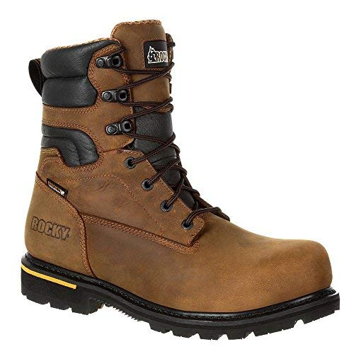 Rocky Men's 8'' Governor Composite Toe Waterproof Work Boots, Brown, 12 W -