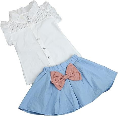 Ropa Sets infantil janly 0 – 7 años Vieja Niña volantes Chaleco Camisa blanca niños lazo corta Rock azul azul Talla:3-4 Jahre alte: Amazon.es: Bebé