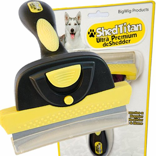 SHEDTITAN Ultra Premium Pet Deshedder Brush, Unique Professional Shedding Tool for Grooming Short Haired Dogs - Size XL
