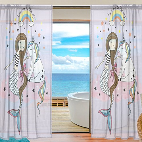 SEULIFE Window Sheer Curtain, Cute Animal Unicorn Mermaid Rainbow Stars Voile Curtain Drapes for Door Kitchen Living Room Bedroom 55x78 inches 2 Panels by SEULIFE