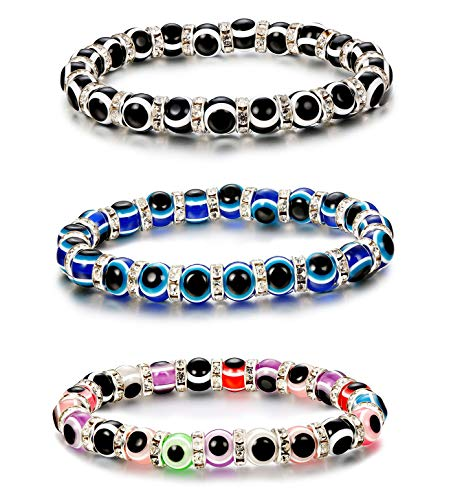 Thunaraz Turkish Evil Eye Bracelet Murano Glass Beads for Women Men Crystal Spacer Bracelet - Evil Eye Glass Bracelet