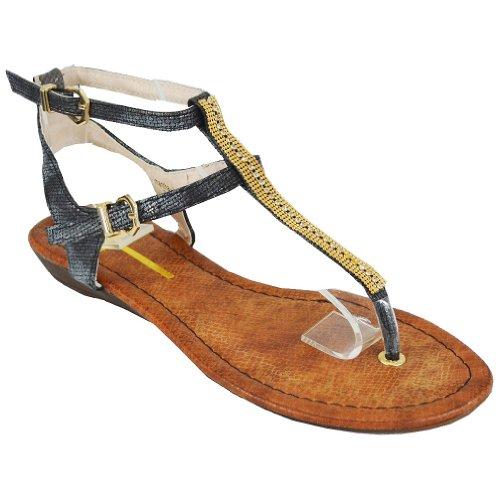 Cape Robbin Women's Samantha-2 Flat Sandals, Black