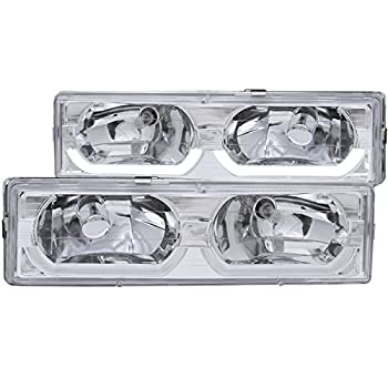 Image of AnzoUSA 111300 Chrome/Clear Low-Brow Style Headlight for Chevrolet Full Size Truck Headlight Assemblies