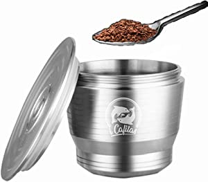 Coffee Capsule, 10 Years Lifetime Reusable Stainless Steel Coffee Pod Holder Filter Filled Refillable Recycled Espresso Coffee Capsules Pods With Lids for Nespreso Machines