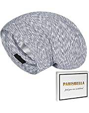 PARISBELLA Satin Lined Sleep Cap Bonnet for Curly Hair, Stay On All Night Hair Wrap Cover with Adjustable Strap for Sleeping