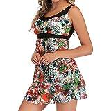 Women Swimwear Floral Tankini Tummy Control Swimsuit Beachwear Two Piece Bathing Suit Swimwear (S, Multicolor)