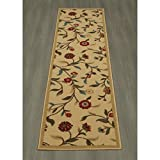 1'8 x 4'11 Beige Red Flower Theme Runner Rug Rectangle, Light Blue Brown Floral Pattern Hallway Carpet Flowers Botanical Motif French Country Entryway Entrance Way Kitchen, Polypropylene