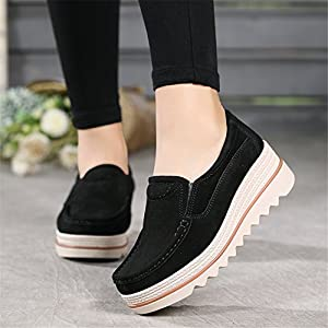 ba67478039df HKR Women Platform Slip On Loafers Comfort Suede Moccasins Wide Low Top Wedge  Shoes