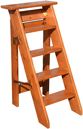 Escalera de Madera Maciza Taburete Plegable con peldaño Escalera de Tijera multifunción Taburete de Escalera de Biblioteca Engrosada Silla | Escalera Loft Ascendente | Carga máxima 180 kg: Amazon.es: Hogar