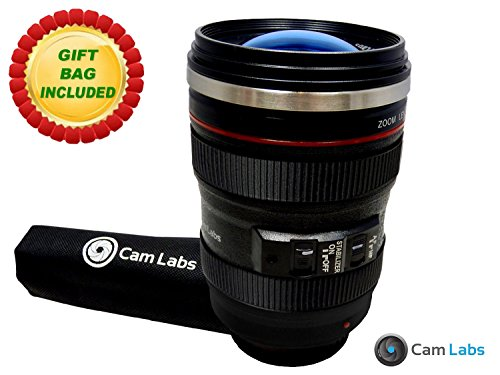 CamLabs Camera Lens Mug - Canon 24-105mm f/4 L IS Lens Replica - Free Travel Gift Bag - Best Gift for Photographers - Clear Lens Lid - Insulated Tumbler, Stainless Steel Coffee Mugs - FDA SGS Approved