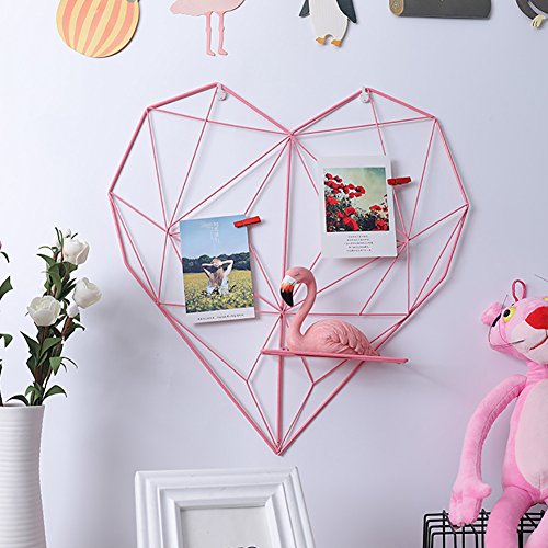 - Corally Iron Wall Shelves Art Bookshelf Metal Rack Metal Heart-Shaped Grid Shelf Floating Box Mesh Wall Decor Storage Shelf DIY Grid Wall Photos Pictures Postcard Holder Storage Rack Home (Pink)