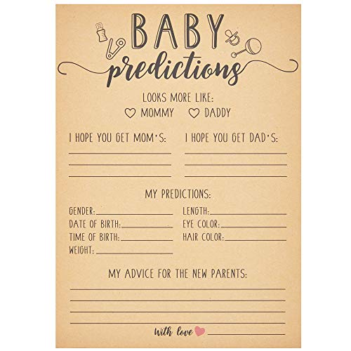 Sparkle and Bash Baby Shower Prediction and Advice Cards (50 Count) 5 x 7 Inches