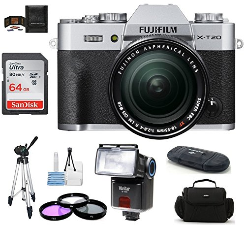 Fujifilm X-T20 Mirrorless Digital Camera (with XF 18-55mm 64GB PRO Bundle, Silver)