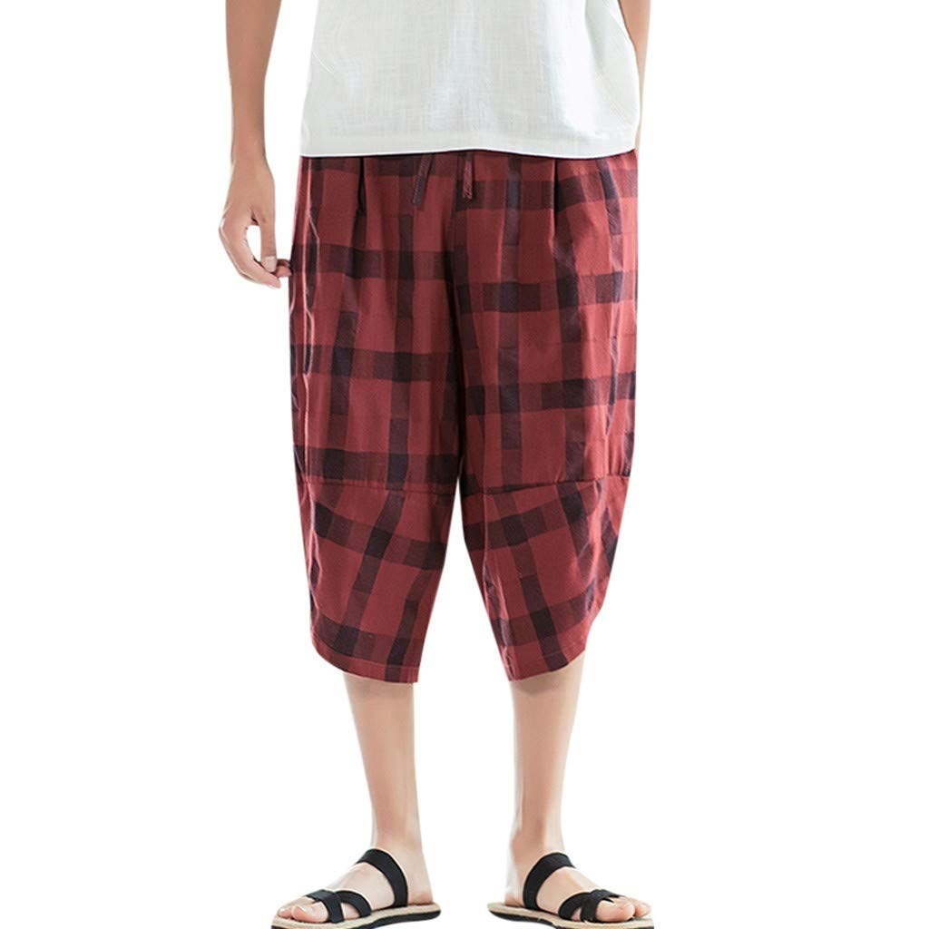 Harem Pants Men,Mosunx Athletic Linen Plaid Elastic Drawstring Multi-Pocket Tiered Loose 3/4 Baggy Gym Jogging Trousers (XXL, Red) by Mosunx Athletic