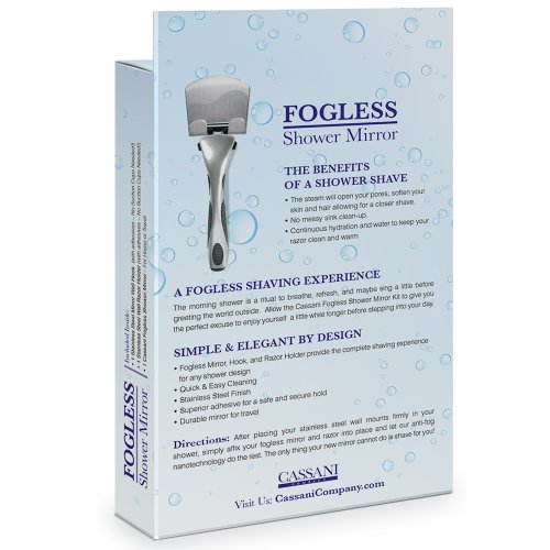 Fogless Shower Mirror - EASY INSTALL - SHATTER PROOF - Includes Razor Hook - Modern - Anti-Fog Nanotechnology - Exclusive To Amazon