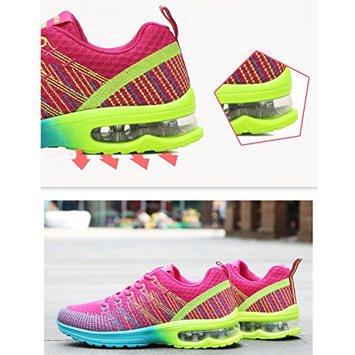 Rose Women Sneakers Air Breathable Shoes Lightweight Athletic Red anbiwangluo Cushion n8qIwd0O8x