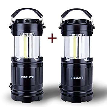 Review VIBELITE LED Collapsible Portable Outdoor Lantern with Flashlight, Black (Pack of 2)