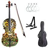 Kinglos 4/4 Green Yellow Flower Colored Solid Wood Student Cello Kit with Soft Case, Stand, Bow, Rosin, Bridge and Extra set of strings Full Size (HSDT018)