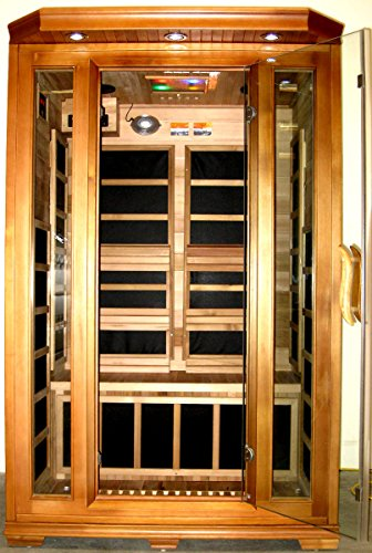 Canadian Red Cedar 2 Person Wall Sauna, FIR Infrared Carbon Fiber, with MP3 Input/iPhone