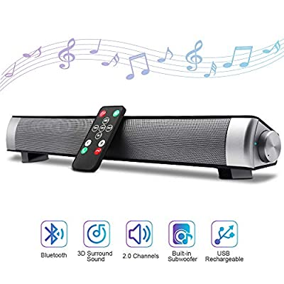 """Bluetooth Sound Bar 15.7"""" Portable Wireless Speakers for Home Theater Surround Sound with Built-in Subwoofers for TV/PC/Phones/Tablets,with Remote Control"""