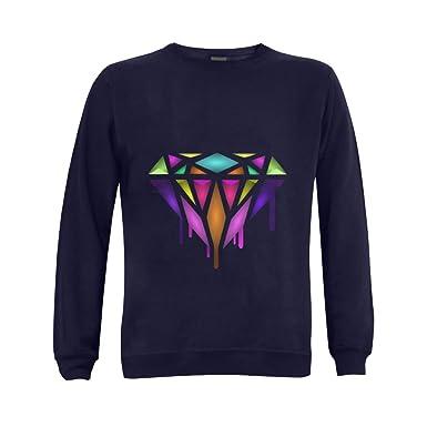 Mens Diamond Dripping Melting Bleeding Cotton And Polyester-Preshrunk Crewneck Sweatshirt