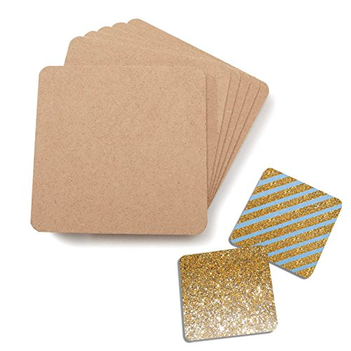 """Set of Six Unfinished 4""""x4"""" Fiberboard Coasters for Arts and Crafts Projects"""