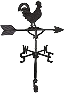 Montague Metal Products 32-Inch Weathervane with Satin Black Rooster Ornament
