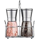 Stainless Steel Salt and Pepper Grinder, Kitchen Manual Salt and Pepper Shakers with Glass Bottle + Adjustable Ceramic Rotor, Set of 2 (Included Holder)