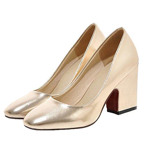 Nonbrand Ladies sexy Disco metallic pumps block heel court shoes Gold 8xXCajwktU