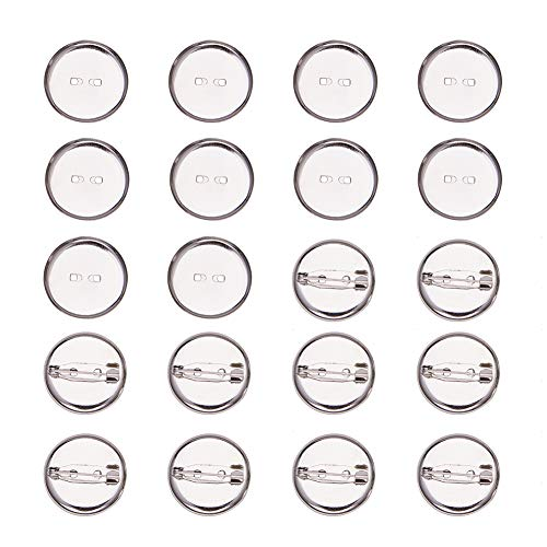 Bar 23mm (PandaHall 50 Pcs Iron Brooch Clasps Pin Disk Base Pad Bezel Blank Cabochon Trays Backs Bar Diameter 23mm for Badge, Corsage, Name Tags and Jewelry Craft Making Platinum)