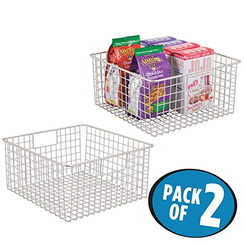 mDesign Household Wire Storage Organizer Bin Basket with Built-In Handles for Kitchen Cabinets, Pantry, Closets, Bedrooms, Bathrooms – 12″ x 12″ x 6″, Pack of 2, Satin