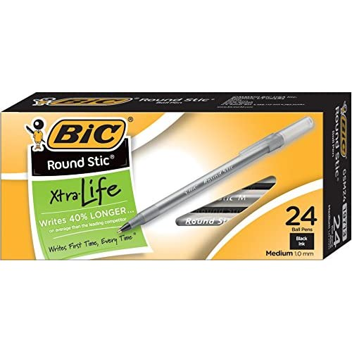 BIC Round Stic Ballpoint Pens, 1.0 mm, Black, Box Of 24 for sale