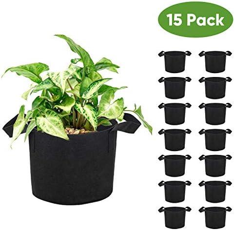 Brajttt 5 Gallon Grow Bags Set, Aeration Fabric Pots with Handles,Black Plant Bags,Durable Garden Grow Pots,Fabric Containers with Strap Handles 15 Pack