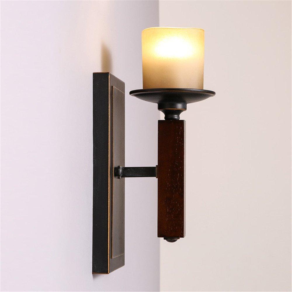 Anbiratlesn Modern E27 Vintage Rustikal Wandlampe für Schlafzimmer Wohnzimmer Korridor Badezimmer Küche Flur Glas einem Kopf Holz Kerzenhalter