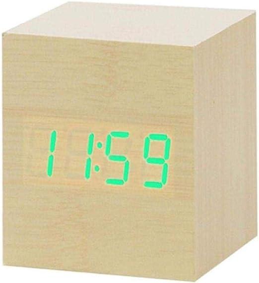 JIAHANLI Reloj Despertador LED Reloj de Madera Mesa Control de Voz ...