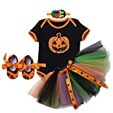 Baby Girls My 1st Halloween Pumpkin Skull Outfits Rompers Suits + Tutu Skirt + Headband + Shoes Newborn Infant Toddlers Cosplay Party Costume Princess Dress up 4PCS Clothes Set for Kids Photo Shoot