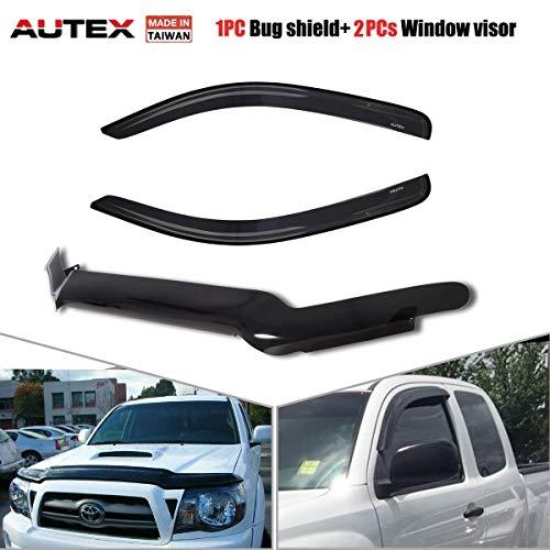 2013 Toyota Tacoma Bug - AUTEX 2 pcs Tape on Side Window Visor & 1 pc Bug Shield Deflector Compatible with Toyota Tacoma Ext Cab 2012 2013 2014 2015