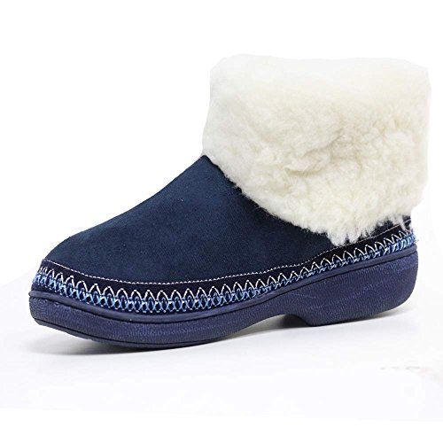 LADIES SLIPPERS WOMENS LUXURY WARM THERMAL BOOTS ANKLE BOOTIE WINTER FUR SHOES SIZE Navy