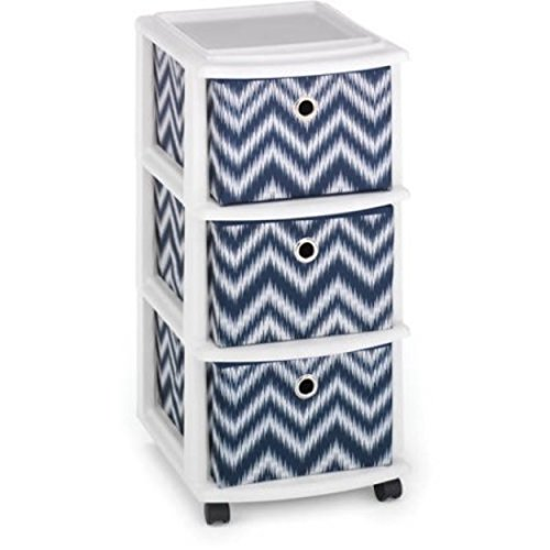 Plastic Frame with 3 Sturdy Fabric Blue Chevron Drawers Mobile Organizer (Mirror Chester Drawers Furniture)