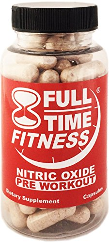 Full-Time Fitness Nitric Oxide Pre Workout Pills - NO Preworkout Supplements Best NO2 Bodybuilding Formula Works Fast Burn Fat and Build Muscle For Men and Women (120 Capsules)