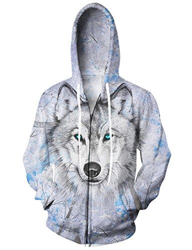 3 Zip Hoodie (Idgreatim Teens 3D Wolf Hoodies Long Sleeve Full-Zip Hooded Sweatshirt With Pocket)