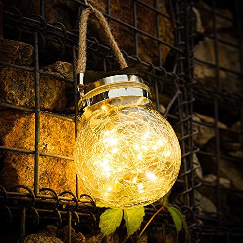 Solar Lights Crackle Glass Ball-30 LED Hanging Solar Lights Outdoor Hanging Solar Lantern Outdoor Solar Glass Jar Lights Waterproof Outdoor Decorative Solar Lanterns for Garden Deck Patio Christmas
