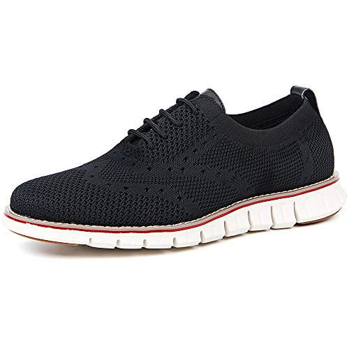 LAOKS Men's Mesh Sneakers Wingtip Oxford Lightweight Breathable Walking Shoes (Black)