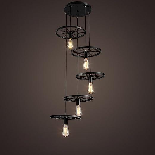 Modeen 5 Luces Loft Escalera Estilo Rueda Colgante Luces Araña Colgante Lámpara Vintage Hierro Negro E27 Bulbos Edison Interior Luz de techo Granero Almacén Accesorios de iluminación: Amazon.es: Hogar