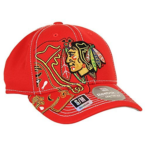 fan products of Reebok NHL Team Logo Center Ice Stretch Fit Hat (Chicago Blackhawks, L/XL)