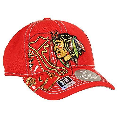 Reebok NHL Team Logo Center Ice Stretch Fit Hat (Chicago Blackhawks, L/XL)